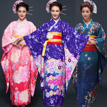Japanese Traditional Women Floral Furisode Long Kimono Cosplay Costume H... - $66.99