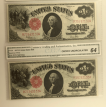 Lot of 2 Consecutive Serial Number 1917 $1 United States Notes Ch Uncirc... - $989.99