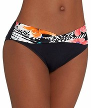 Coco Reef Tropic-Print Foldover Bikini Bottoms Black Small - $48.51