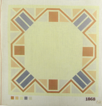 """Vintage 1970's Hand Painted Needlepoint """"1868""""  Yellow Geo-metricized Ab... - $28.35"""