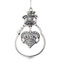 Inspired Silver Granny Pave Heart Snowman Holiday Christmas Tree Ornament With C - €12,87 EUR