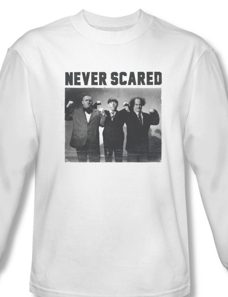 The three stooges comedy team long sleeve white graphic tee for sale online tts151 al