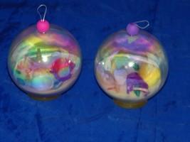 2 Beach Bubble Christmas Ornament Xmas Sand Ball 19166 Shell Shells - $11.74
