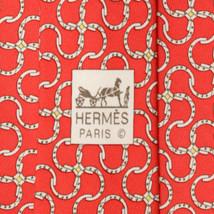 100% Auth HERMES TIE Silk Necktie Mens EQUESTRIAN HORSESHOE Pattern 5245 - $118.95