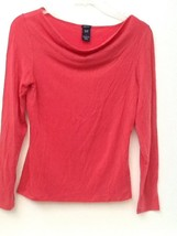 GAP Stretch Red Blouse S Long Sleeve Wide Drape Neck Top EUC - $8.95