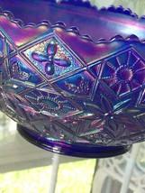 Vintage 1970s IMPERIAL Glass BOWL AURORA JEWELS Blue Carnival HATTIE Floral - $34.65