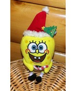 SpongeBob SquarePants Holiday Plush Wears Santa Cap & Holds Striped Candy - $6.79