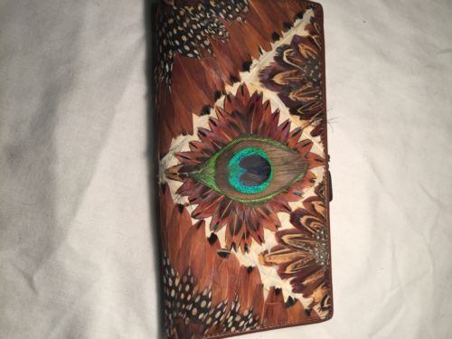 Primary image for Vintage Peacock Feather Brown Hand worked Leather Billfold Check Wallet
