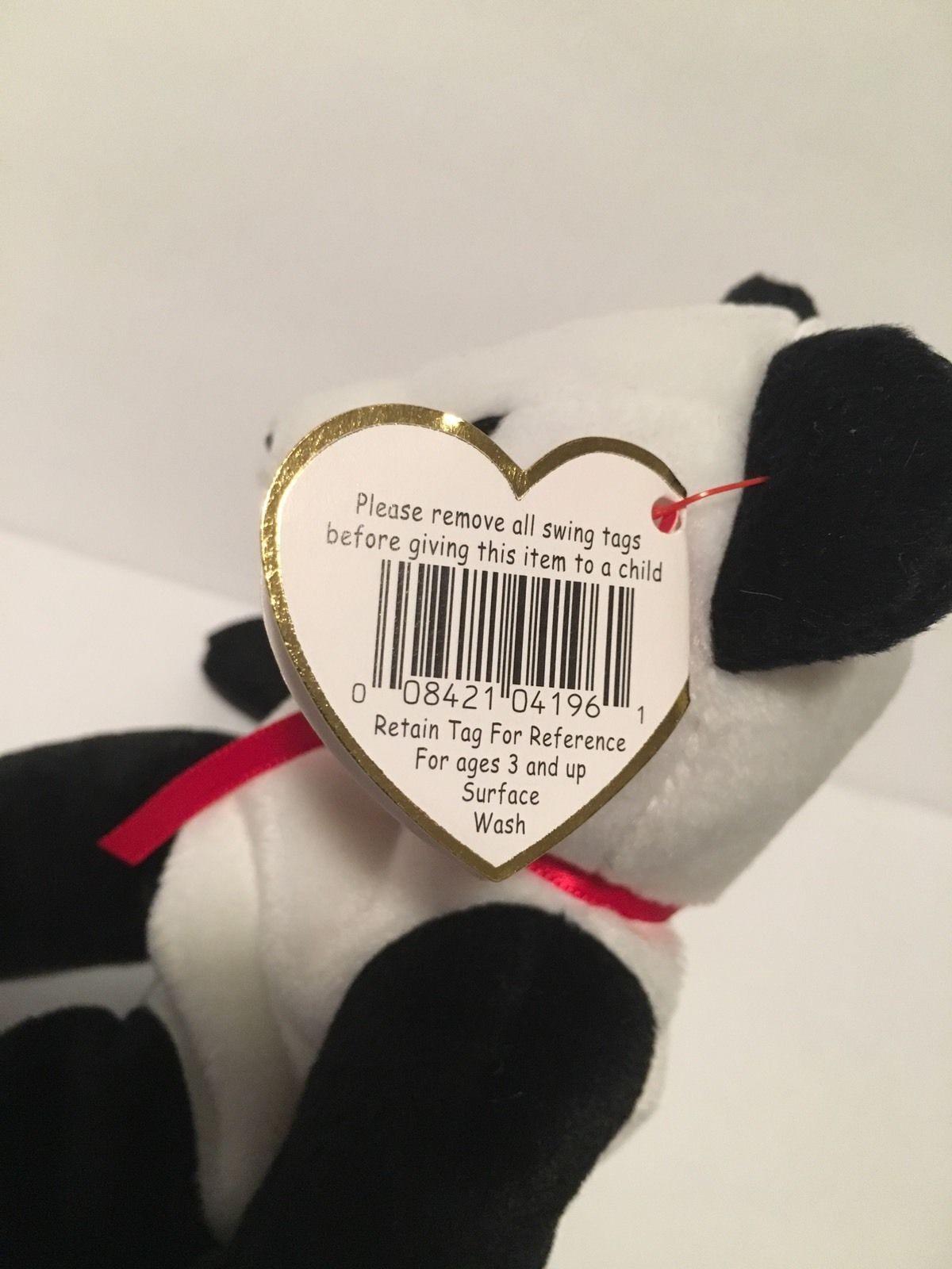 Ty Beanie Babies Plush Beanbag Fortune the Panda Bear Black White