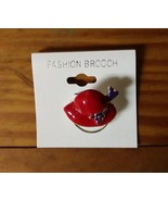 RED HAT with Purple Flower and Bow Eyeglass Holder Pin / Brooch  Society... - $4.60