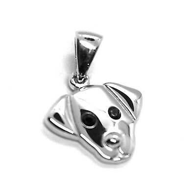18K WHITE GOLD MINI PENDANT, LABRADOR DOG, SMOOTH BLACK ZIRCONIA MADE IN ITALY