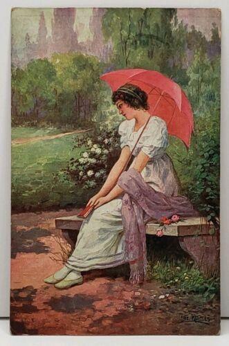 Artist Signed Klimes, Victorian Woman on Park Bench 1910 Postcard E4
