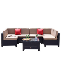 7 PC Patio PE Wicker Furniture Sectional Set Backyard Outdoor Garden Sof... - $599.99