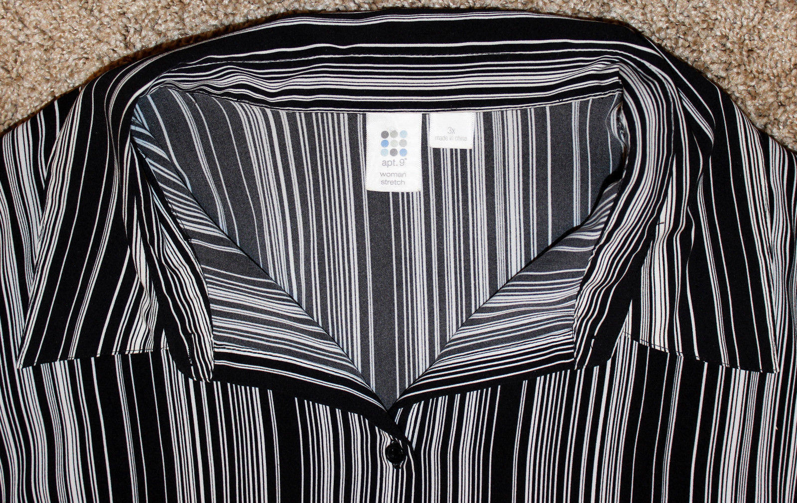 APT.9 BLACK WHITE PIPE STRIPE STRETCH 3/4 SLEEVE BUTTON DOWN SHIRT TOP 3X 4X 30W image 3