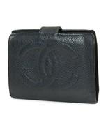Authentic CHANEL Black Caviar Leather CC Logo Snap Bifold Wallet #38503B - $179.00