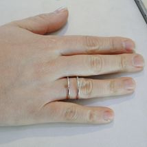 SOLID 18K WHITE GOLD BAND DOUBLE MULTI WIRES RING LUMINOUS SMOOTH, MADE IN ITALY image 4