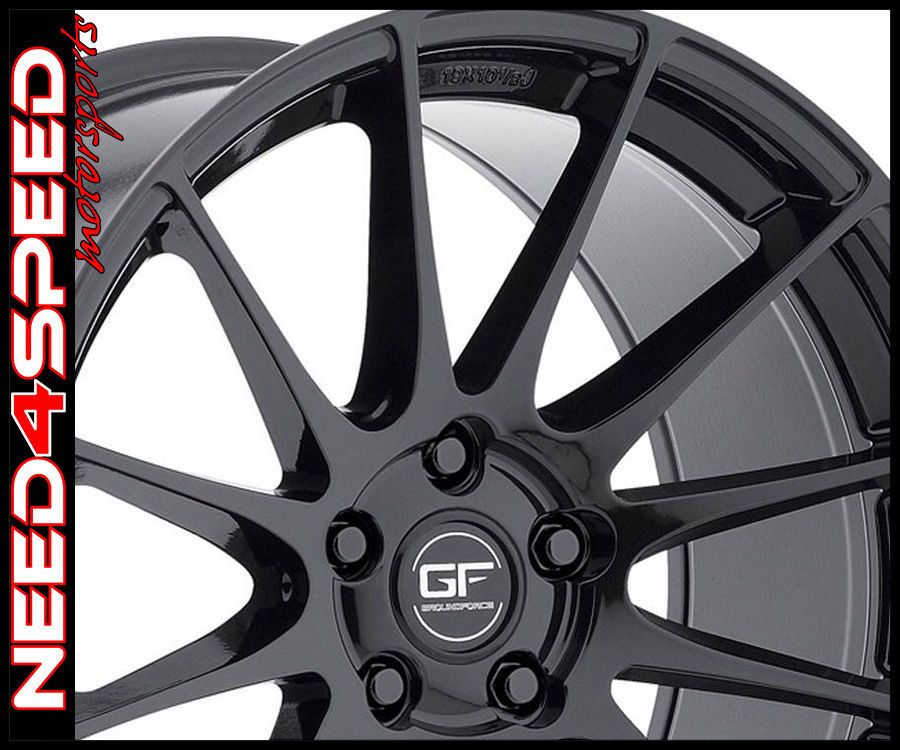 "19"" MRR Ground Force GF6 Gloss Black 19x8.5 Concave Wheels"