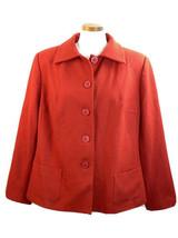 HARVE Bernard Holtzman Woman Red Coat Wool Blend Button Front  20W - $28.01