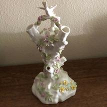 "Rare 12"" Belleek Bird Nest Stump Vase With Flowers 9th Blue Mark 1997-1999 - $295.00"