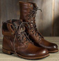 Handmade Men Brown Leather High Ankle Military Boot image 2