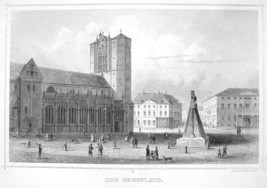 GERMANY Burgplatz Square at Braunschweig - 1860 Original Engraving Print - $16.83