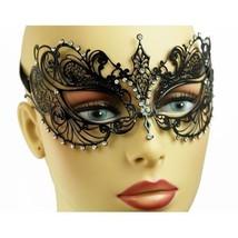 Laser Cut Metal Filigree Lady Masquerade Mask Sparkling Clear Crystals 4... - $16.50
