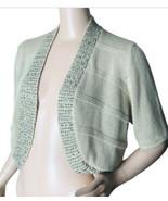 Chicos Size 2 Shrug Sweater Beige Embellished Cotton Crop Cardigan Short... - $17.33