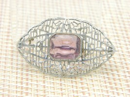 ENCO Purple Rhinestone Silver Tone Filigree Art Nouveau Style Pin Brooch... - $19.79