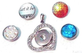NEW Sparkle Heart pendant + 4 snaps-Interchange w/Ginger snaps 18 mm  - $10.46