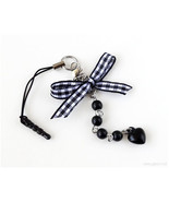 Gingham Bow Phone Charm Plug, Beaded, Planner Charm, Black and White, Bl... - $9.00
