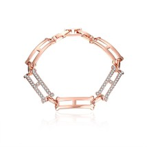 GPB105 Fashion Plated Copper Charm Bracelet Rhinestone Decor Geometric B... - $9.85