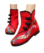 Vintage Beijing Cloth Shoes Embroidered Boots 12-03   red with cotton  35 - $38.99