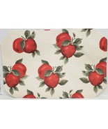 """SET OF 2 SAME LINEN FABRIC PLACEMATS 12"""" x 18"""", RED APPLES by BH - $12.86"""