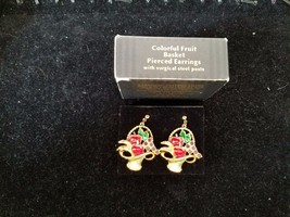 Avon Earrings Colorful Fruit Basket - $14.84