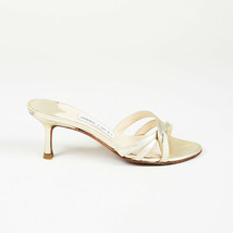 Jimmy Choo Metallic Gold Leather Slide Sandals SZ 35 - $105.00