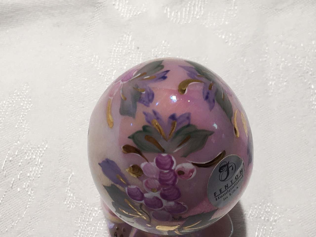 Fenton Glass Pink Rosalene Egg Hand Painted and Signed Limited Edition