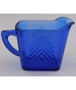 Hazel Atlas Cobalt Blue Depression Glass Chevron Creamer - $24.75