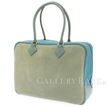HERMES Plume 32 Grizzly Evercolor Clemence Ciel Turquoise Handbag #R Aut... - $2,926.80