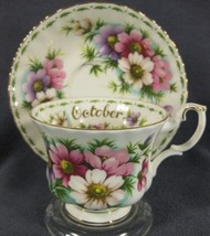 Royal Albert Flower Of Month October Cosmos Tea Cup Saucer Set - $39.95