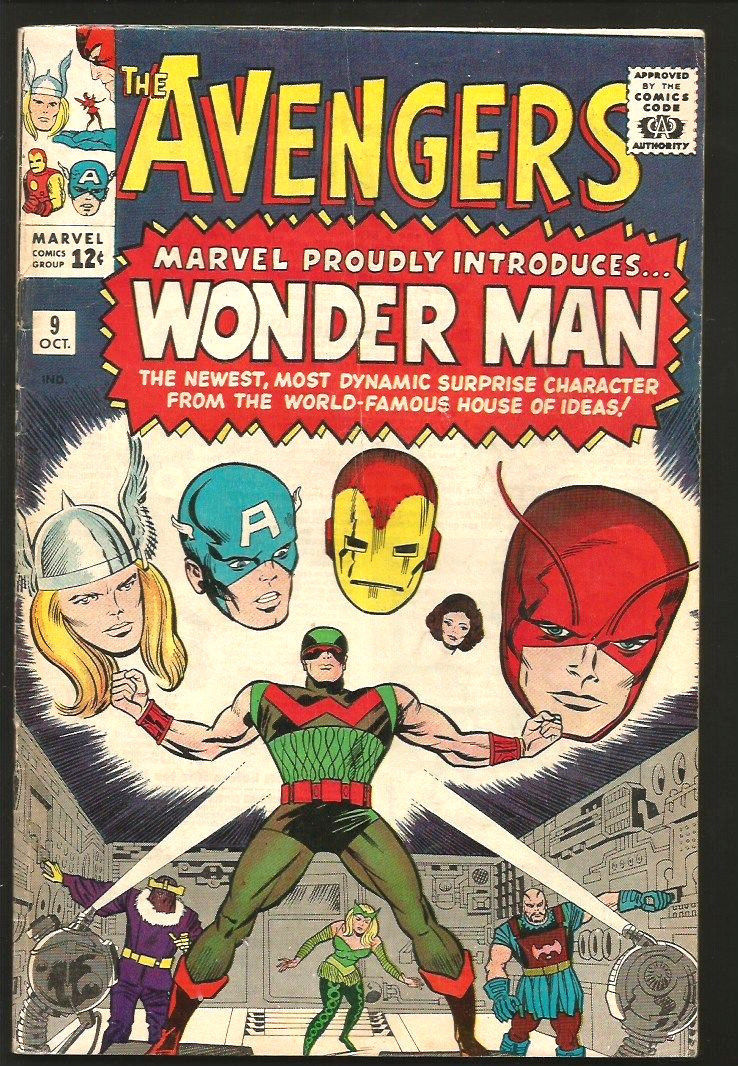 AVENGERS #9 Fine Intro 1st WONDER MAN Key1964 Heck Ayers Marvel Comics 1stSeries