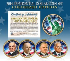 2014 MINT COLORIZED USA PRESIDENTIAL $1 DOLLAR 4 COIN SET Completed - $21.03