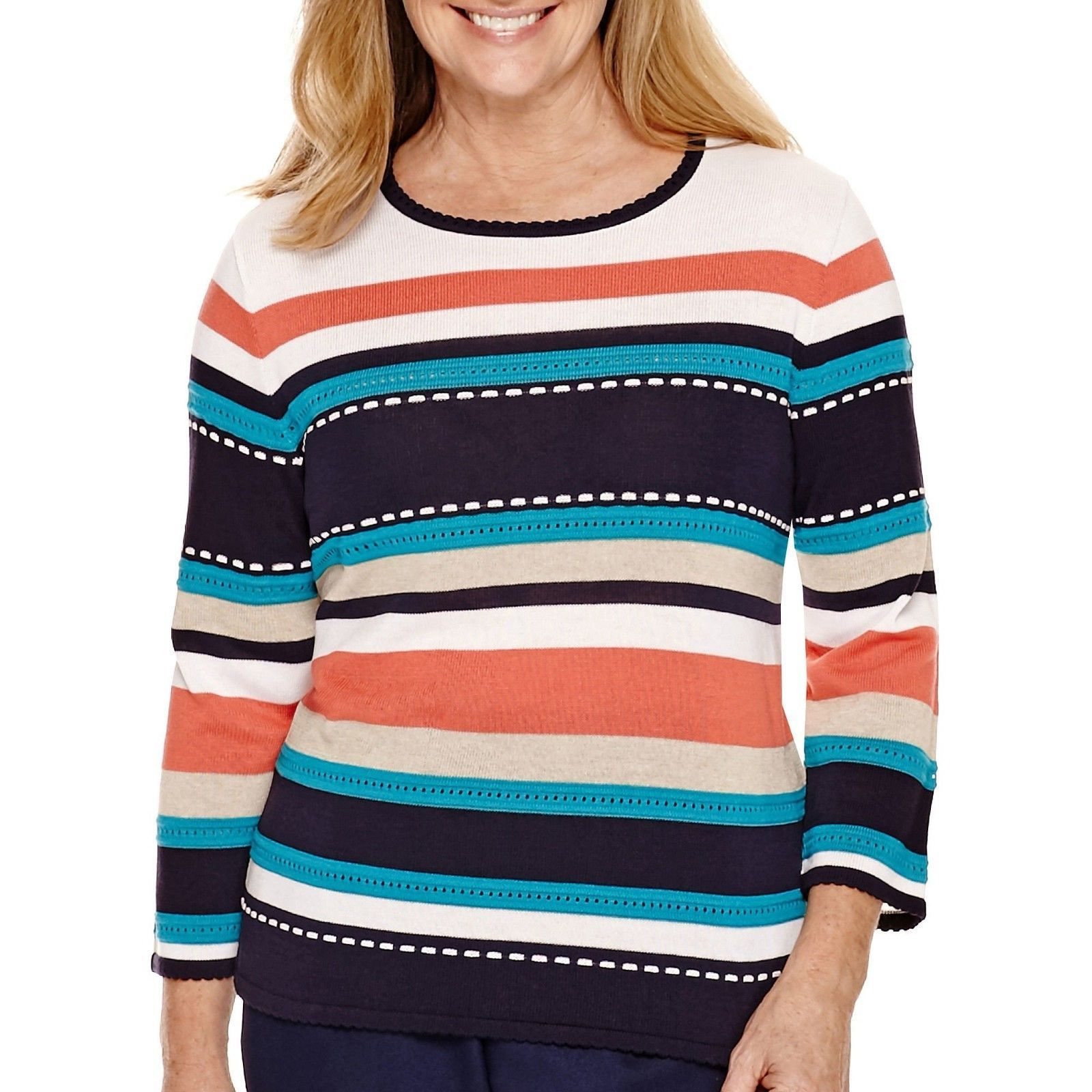 Primary image for Alfred Dunner 3/4-Sleeve Striped Sweater Size L, XL Msrp $54.00 New