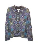 Talbots 100% Alpaca Knit 1/2 Zip Sweater sz L Bolivia Multi Color Geometric