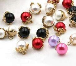 30pcs/lot Golden Crown Pearl Shape Buttons For Hats Shoes Sweaters Garment - $24.74