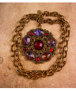 Vintage Medieval style necklace / big gothic pendant - peridot green rhi... - $125.00