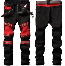 2018 fashionable clothing for men black red stitching zipper fold locomo... - $44.88
