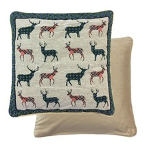 """CHRISTMAS REINDEER STAGS DEER TARTAN CHECK WOVEN CHENILLE CUSHION COVER 18"""" - $7.50"""