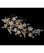 Swarovski Crystal Golden Hand Wired Wedding Bridal Hair Comb - $73.66