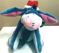 "Disney 8"" Christmas Eeyore Plush W Santa Hat Scarf Musical Light Up Movi... - $23.75"