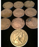 COLLECTION OF TEN British 1980's COINS, 20 PENCE AND 1 POUND W/QUEEN ELI... - $18.56